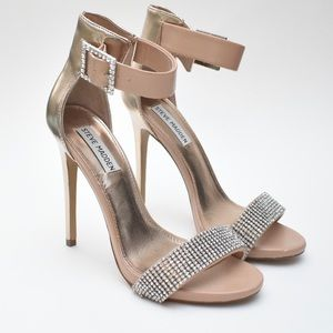 STEVE MADDEN Crystal Sparkle Gold Rhinestone Heels